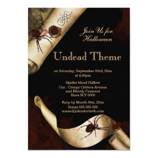 Adults Halloween spider scroll 5x7 Paper Invitation Card