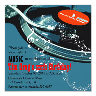 Adults Music Themed Birthday Party 5.25x5.25 Square Paper Invitation Card
