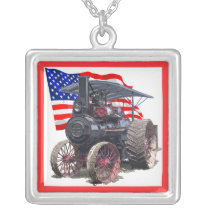 Advance Steam Traction Engine Silver Plated Necklace