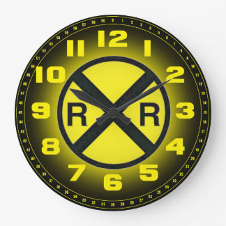 Advance Warning Sign Railroad Crossings Wall Clock
