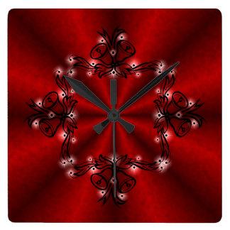 Advenimiento, navidad Artdeco en el arco iris rojo Reloj Cuadrado