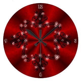 Advenimiento, navidad Artdeco en el arco iris rojo Reloj Redondo Grande