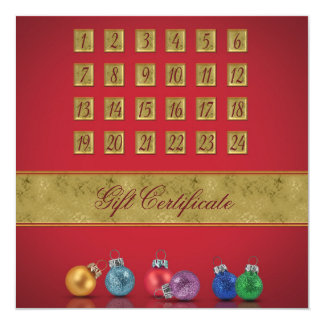 Advent Calendar with Ornaments - Gift Certificate Card