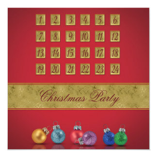 Advent Calendar with Ornaments - Party Invitation