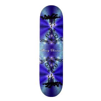 Advent, Christmas Artdeco on blue green Rainbow Skateboard