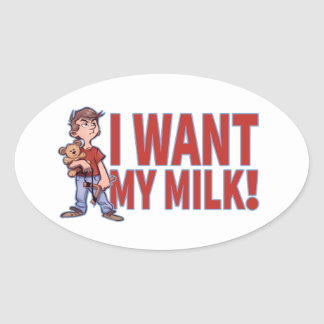 Adventuous Litlle Guy Wants His Milk Oval Sticker