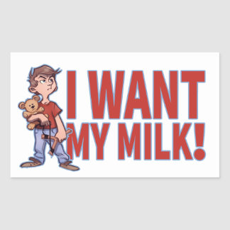 Adventuous Litlle Guy Wants His Milk Rectangular Sticker