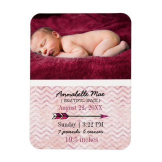 Adventure Arrow Baby Girl Birth Announcement Photo Magnet