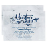 """Adventure Awaits"" Aviation Baby Shower Invitation"