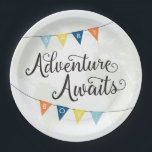 "Adventure Awaits Baby Boy Shower Plates<br><div class=""desc"">These plates coordinate with the Adventure Awaits Baby Boy Shower Collection. Featuring earthy colors,  rustic flags and calligraphy script,  it is sure to complement the adventurous spirit of the mother-to-be.</div>"