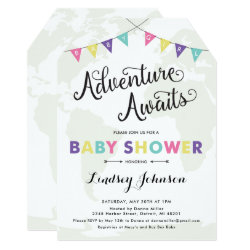 Adventure Awaits: Baby Girl Shower Map Invitation
