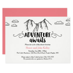 Adventure Awaits Baby Shower Invitation, Girl Card