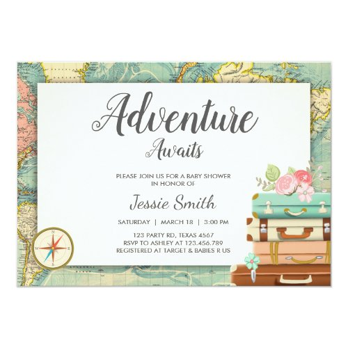 Adventure Awaits Baby shower invitation Travel Map