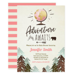 Adventure awaits Baby shower invite Vintage Girl