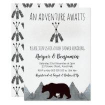 Adventure Awaits Bear Baby Shower Invitation
