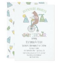 Adventure Awaits Bear Bunny Bike Baby Shower Card