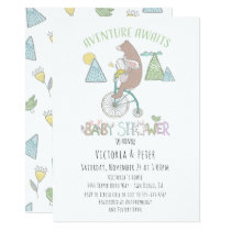 Adventure Awaits Bear Bunny Bike Baby Shower Invitation