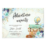 Adventure Awaits Blue Floral Travel Baby Shower Invitation