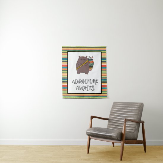 Adventure Awaits Boho Bear Nursery Art Tapestry