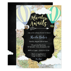 Adventure Awaits Boy Baby Shower Invitation