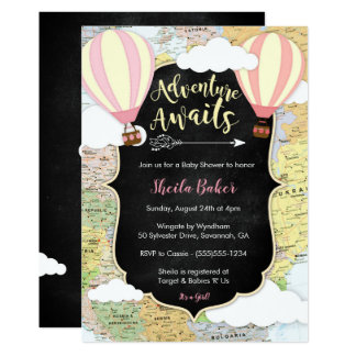 Adventure Awaits Girl Baby Shower Invitation