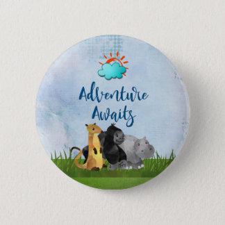 Adventure Awaits - Gorilla Hippo and Meerkat Button