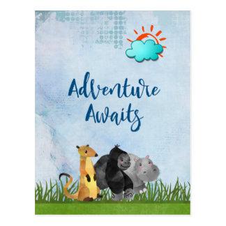 Adventure Awaits - Gorilla Hippo and Meerkat Postcard