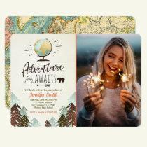 Adventure awaits Graduation invitation Travel
