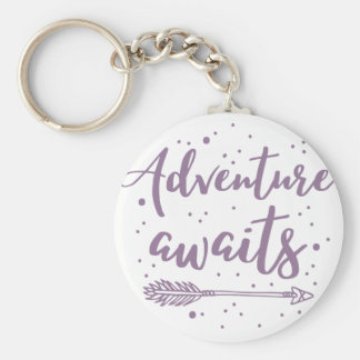 adventure awaits  in purple keychain