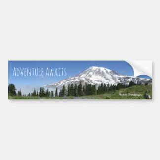 Adventure Awaits (Mt Rainier) Bumper Sticker