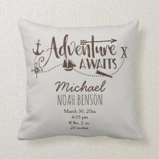 """Adventure Awaits"" Nautical Birth Stats Throw Pillow"