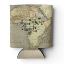 Adventure Awaits Old World Map Can Cooler