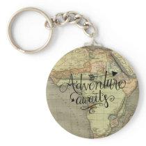 Adventure Awaits Old World Map Keychain