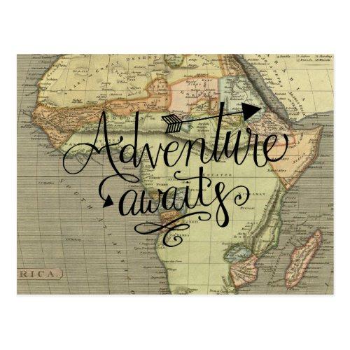 Adventure Awaits Old World Map Postcard