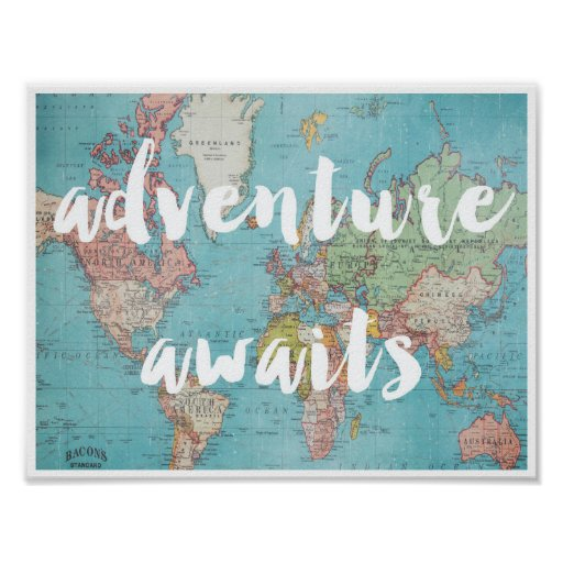 Adventure Awaits on Vintage World Map Poster Zazzle