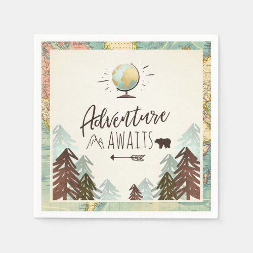 Adventure awaits Paper Napkin Vintage Globe Travel