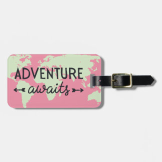 Adventure Awaits Pink World Map Luggage Tag
