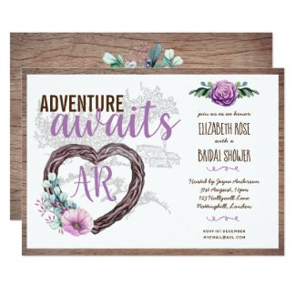 Adventure Awaits Purple Floral Flowers Wood Bridal Invitation