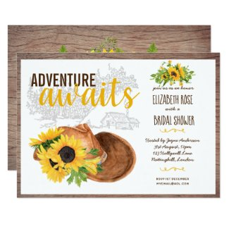 Adventure Awaits Rustic Sunflowers Bridal Shower Invitation