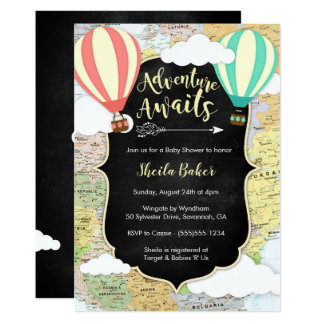 Adventure Awaits Travel Baby Shower Invitation
