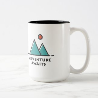 Adventure Awaits two-tone coffee mug