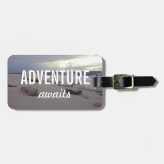 Adventure Awaits Typography Beach Waves Bag Tag