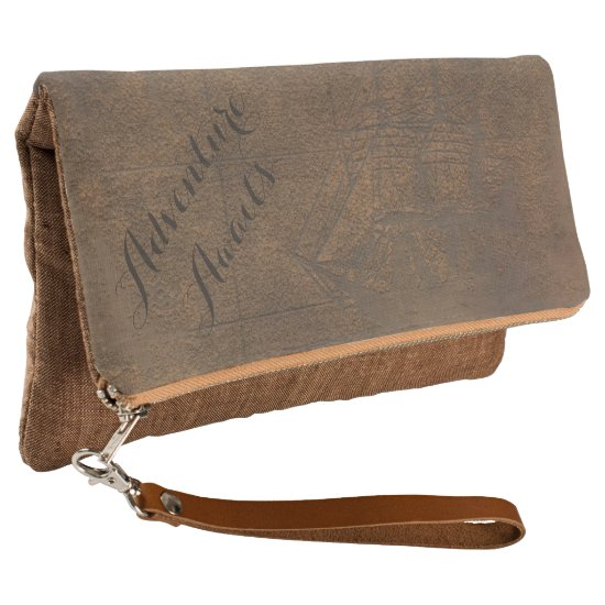 Adventure Awaits Vintage Leather Map Clutch