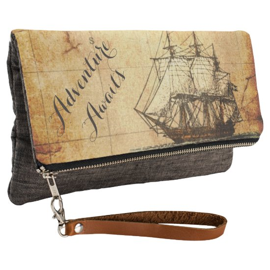 Adventure Awaits Vintage Sailing Map Clutch