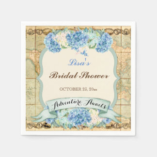 Adventure Awaits Vintage World Map Blue Hydrangeas Napkin