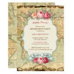 Adventure Awaits Vintage World Map Roses Card