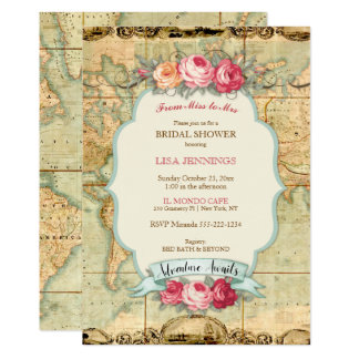 Adventure Awaits Vintage World Map Roses Card