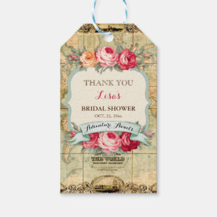 World map gift tags zazzle adventure awaits vintage world map roses gift tags gumiabroncs Image collections