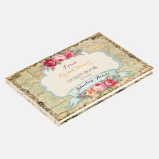 Adventure Awaits Vintage World Map Roses Guest Book