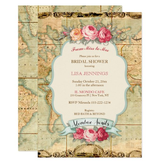 Adventure Awaits Vintage World Map Roses Invitation on flat map of united states, printable flat map, flat map pennsylvania, world map, sua flat map, america flat map, chantry flats map, flat globe, flat map of countries, flat map of asia, future of the united states map, usa map, a flat map, flat global map, 48 united states map, red state blue state map, flat europe map, empty states map, flat continent map, globe flattened to map,